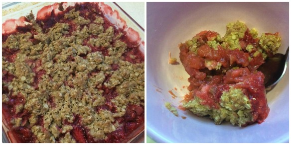 Rhubarb Strawberry Crisp Collage